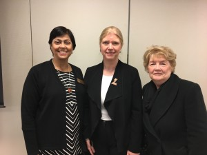 Ela Pandya (L) and Mickie Manning (R) visit with Zonta International President Elect Susanne von Bassewitz (C) at the 2018 United Nations Commission on Status of Women