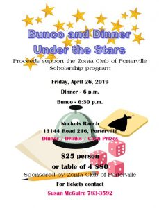 Bunco and Dinner  Under the Stars @ Nuckols Ranch | Porterville | California | United States